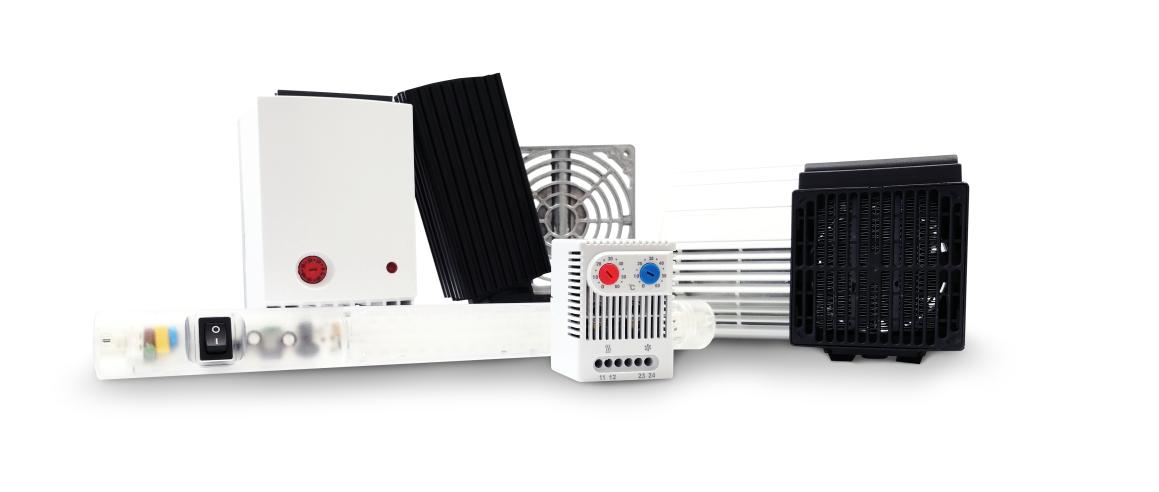 термостат, нагреватель, вентилятор, фильтр для вентилятора, выпускной фильтр для вентилятора, светодиодное освещение, дополнительное оборудование для распределительных щитов, ткань фильтрующая